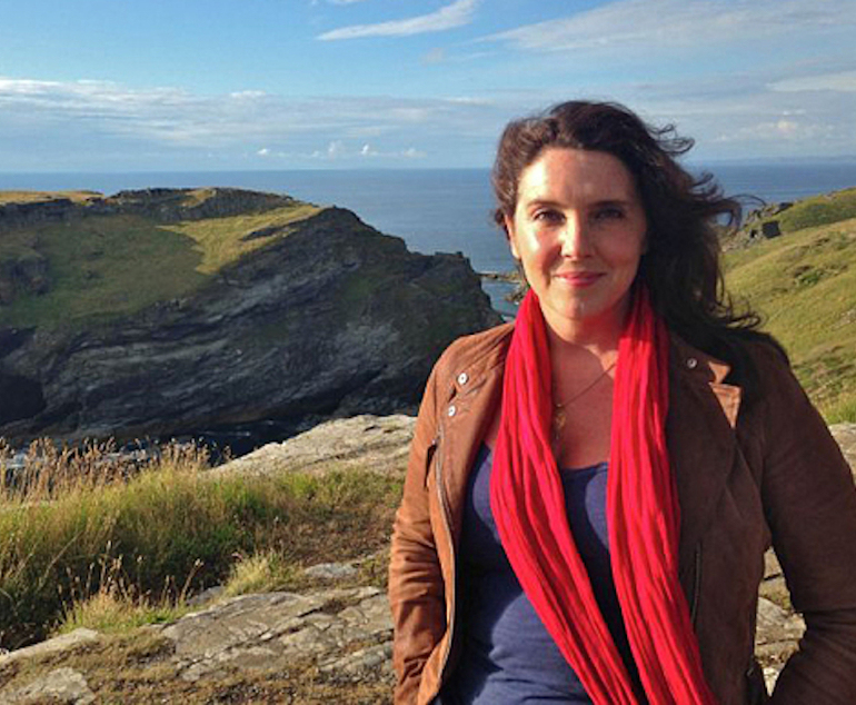 From Shiver Production  SECRETS FROM THE SKY Programme 1 Tintagel  Friday 17th October 2014 on ITV  Pictured: Historian Bettany Hughes at Tintagel Castle  The countrys most historic landmarks and glorious landscapes are explored from a birds eye view in Secrets From The Sky.  Using an octocopter, a remote controlled helicopter carrying a camera, historian Bettany Hughes and aerial archaeologist Ben Robinson look down on sites of great historical interest to gain a brand new perspective and uncover further information about our ancestors.  Britains landscape is dotted with historical monuments such as Tintagel Castle in Cornwall, Stonehenge, Maiden Castle, Sutton Hoo, The Antonine Wall and Old Sarum in Wiltshire. The series investigates these monuments, revealing a new insight into our nations story and showing Britains stunning landscapes through fantastic aerial views.  By looking down on these sites from above, the clues on the ground can be linked together to uncover the full story locked in the landscape. The lumps and bumps in the ground can take on a different meaning when viewed from above.   ITV    This photograph is  ITV and can only be reproduced for editorial purposes directly in connection with the  programme Secrets From The Sky. Once made available by the ITV Picture Desk, this photograph can be reproduced once only up until the Transmission date and no reproduction fee will be charged. Any subsequent usage may incur a fee. This photograph must not be syndicated to any other publication or website, or permanently archived, without the express written permission of ITV Picture Desk. Full Terms and conditions are available on the website www.itvpictures.com